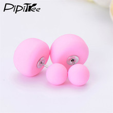 2 Pair/Lot,2017 New Big Mushroom Double Side Stud Earrings For Women Girls Matte Frosted Simulated Pearl Earrings Pusety Jewelry