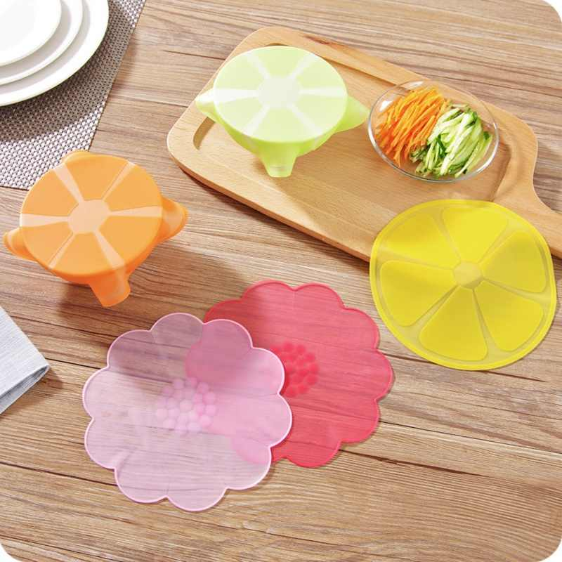 1PC Practical 5 Colors Cute Multi-Functional Reusable Silicone Refrigerator Food Storage Cover Saran Wrap Cling Film 18cm