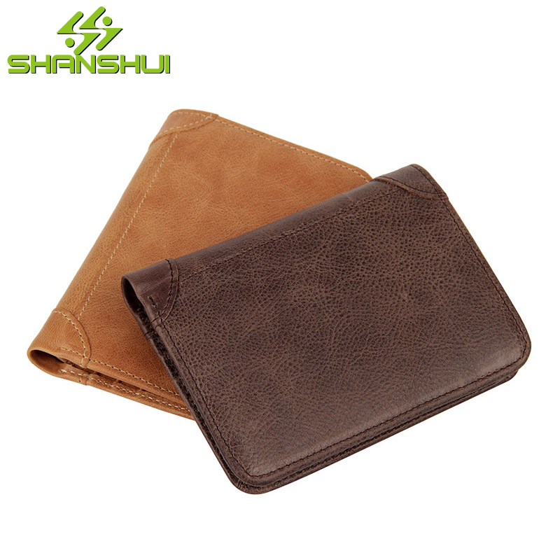 Genuine Leather Men RFID Block Vintage Short Purse Wallet Business 2017 Male Credit Card Holder Big Capacity Cash Pocket Wallets brand high quality business genuine leather men wallet credit card holder black real leather vertical purse with coin pocket 50