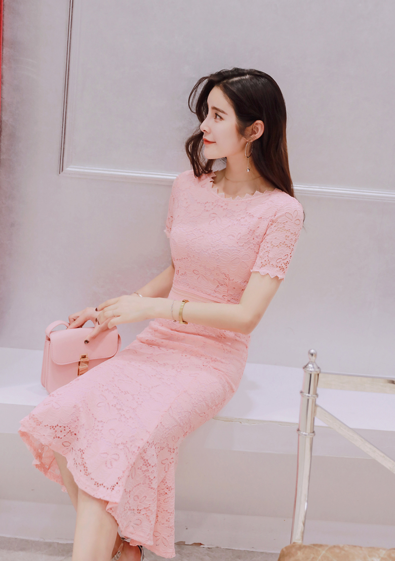 2019 Women Summer Lace Dress O neck Elegant Evening Party Mid Calf Mermaid Pink Dress Short Sleeve Black Vestidos in Dresses from Women 39 s Clothing