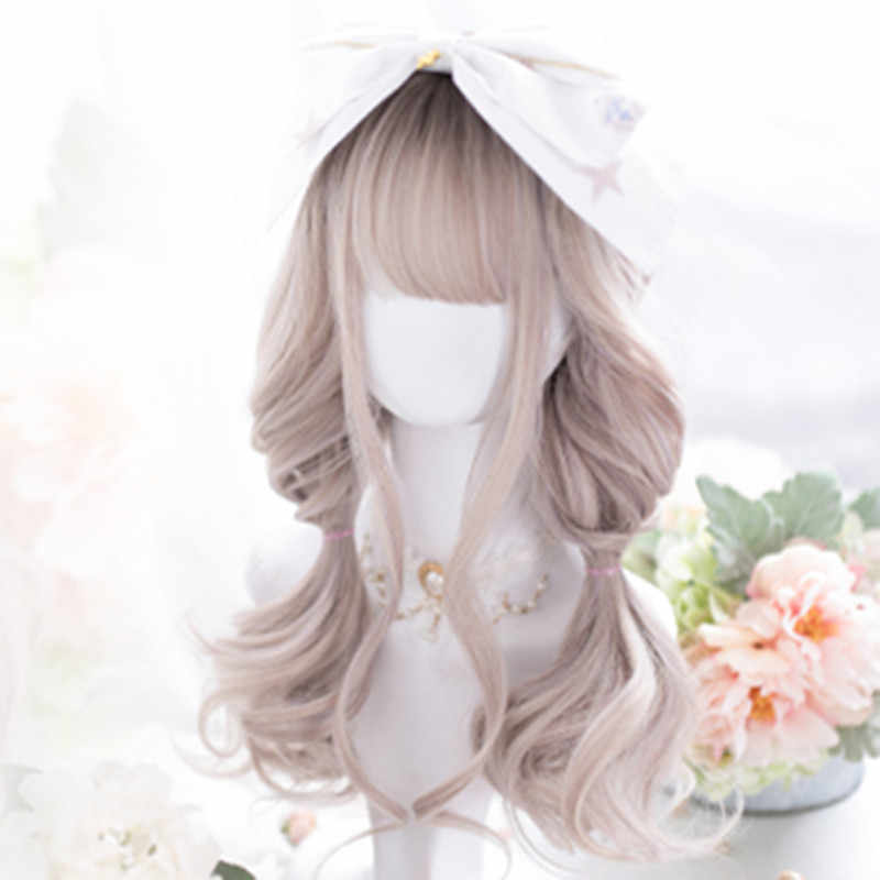 CosplaySalon 50CM Bangs Lolita Medium Curly Mixed Color Ombre Women Cute Bangs Synthetic Hair Cosplay Wig H762345