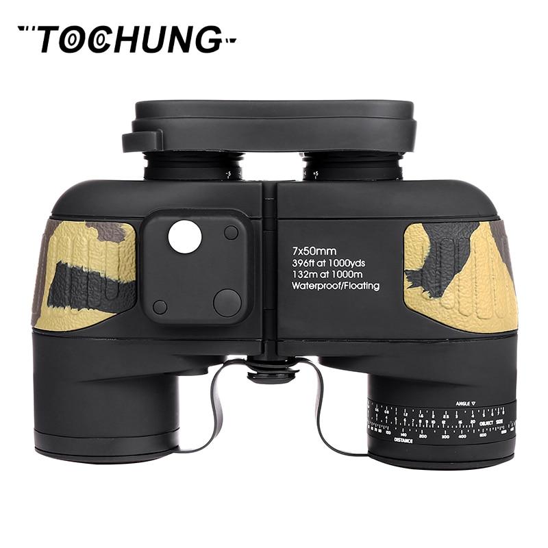 TOCHUNG Military hunting HD Marine Binoculars 7X50 Zoom Rangefinder Compass Telescope Eyepiece Waterproof Nitrogen bak4 vision стоимость
