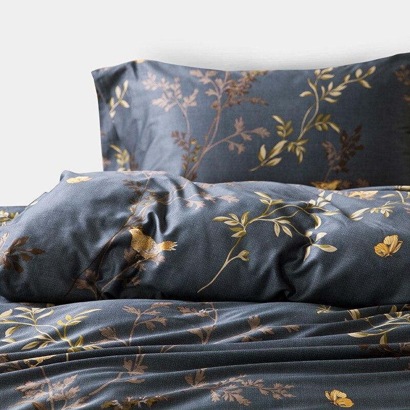 Luxurious Egyptian Cotton Bedding Sets Flower Bird Pattern Duvet Cover Set Bed Sheet Pillowsham 4pcs Pastoral Tribute Silk - 2