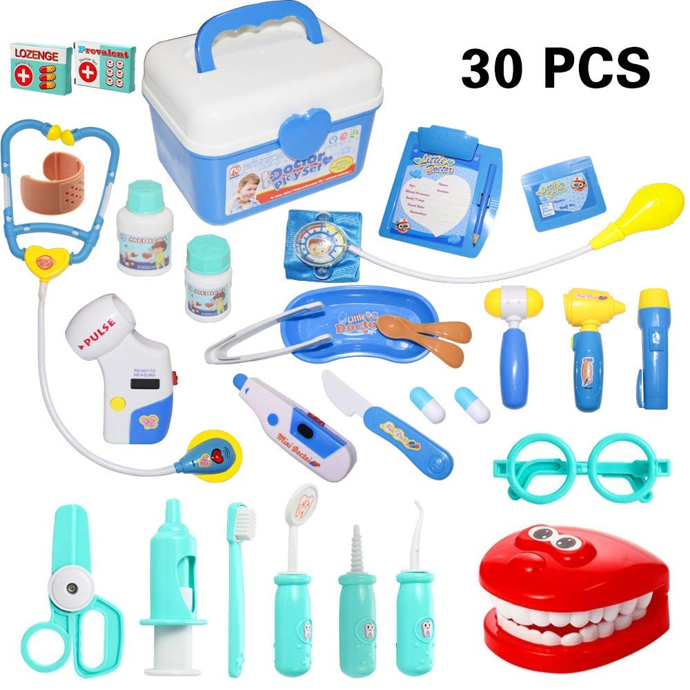 30 Pieces Doctor Kit Pretend Play Doctor Pretend Toy Doctor Kit for Toddler, Kids, Girls and Boys image