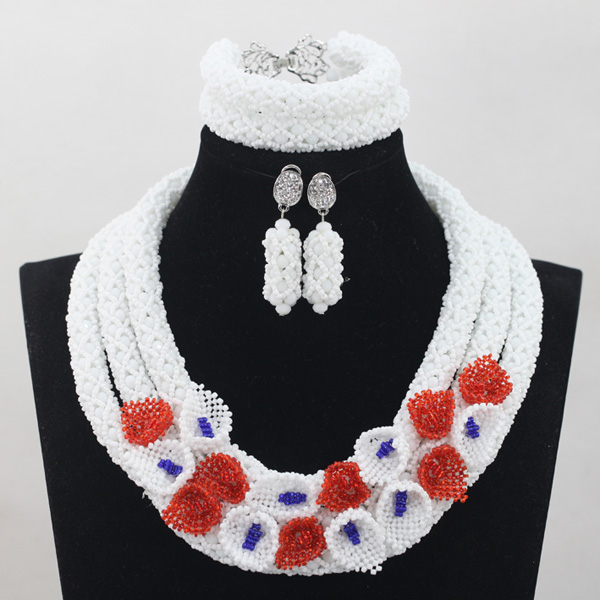 Chunky Nigerian Women Jewelry Sets Silver Plated Fashion White African Beads Wedding Crystal Necklace Set Free ShippingABH026Chunky Nigerian Women Jewelry Sets Silver Plated Fashion White African Beads Wedding Crystal Necklace Set Free ShippingABH026