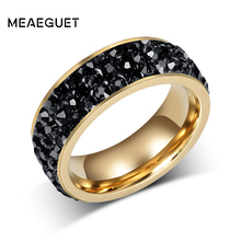 Meaeguet Jewelry Women 3 Row Lines Paved Crystal Rings Gold Color Stainless Steel Wedding Band Ring