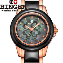 New Fashion High quality Ceramic Binger Wristwatches Printing Rose Flower Leopard Military Birthday gifts Loves Quartz Watch