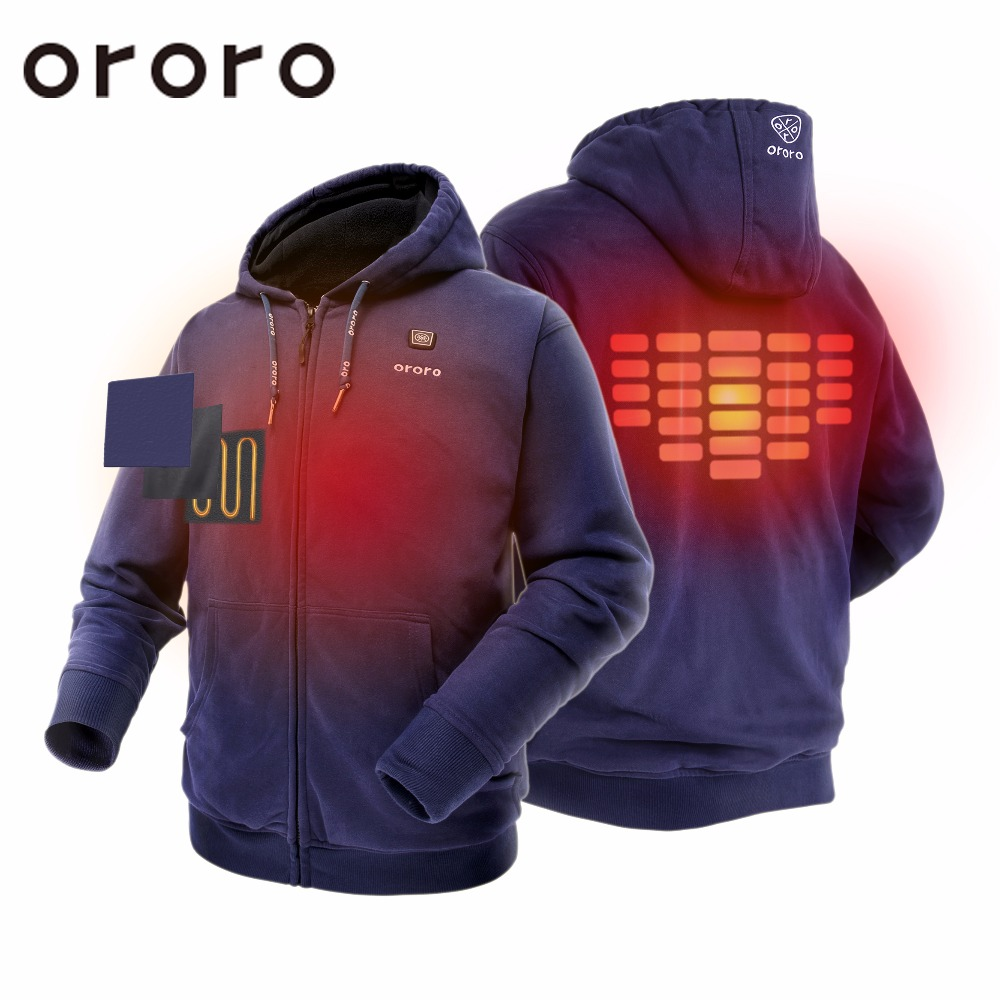Battery Heated Clothing >> Unisex Hoodies Full Zip Coat With Hood Electric Battery Heated Ororo