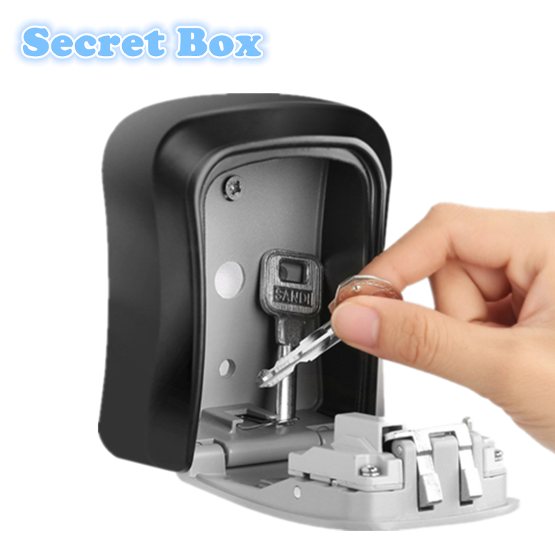 Zinc Alloy Wall Mount Key Storage Secret Safe Box Organizer With 4 Digit Password Home Security Door Lock Tool Cofre Caja Fuerte(China)