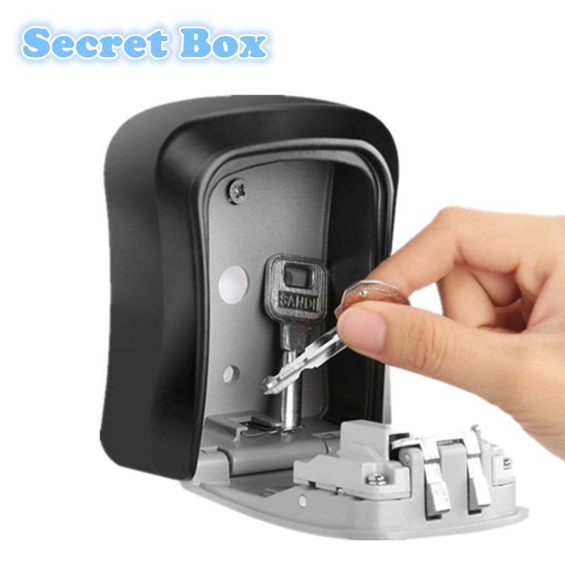 Zinc Alloy Wall Mount Key Storage Secret Safe Box Organizer With 4 Digit Password Home Security Door Lock Tool Cofre Caja Fuerte