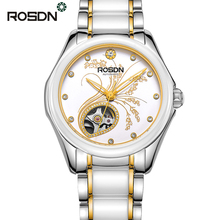 ROSDN Womens Automatic Mechanical Watches Ladies Top Luxury Brand Pure Ceramic Stainless Steel Watch Gold Fashion relojes mujer