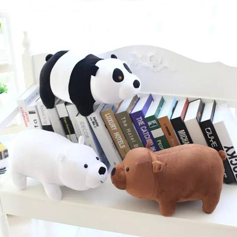 40cm We Bare Bears Movie Anime Cartoon Bear Grizzly Bear Panda Stuffed Soft Plush Toy Beauty doll Birthday Gift For kids