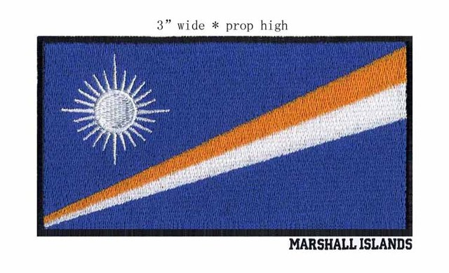 3 Wide Marshall Islands Embroidery Flag Patch For Custom