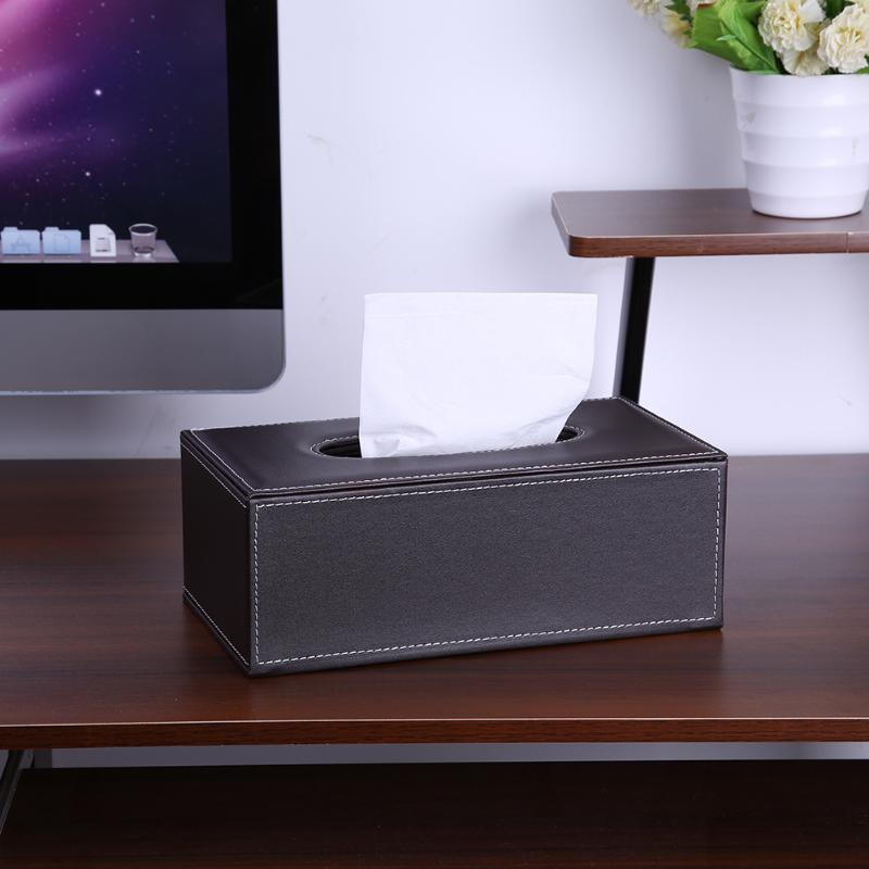 PU Leather Tissue Box Container Napkins Paper Household Organizer Tissue Dispenser for Home Office and Car
