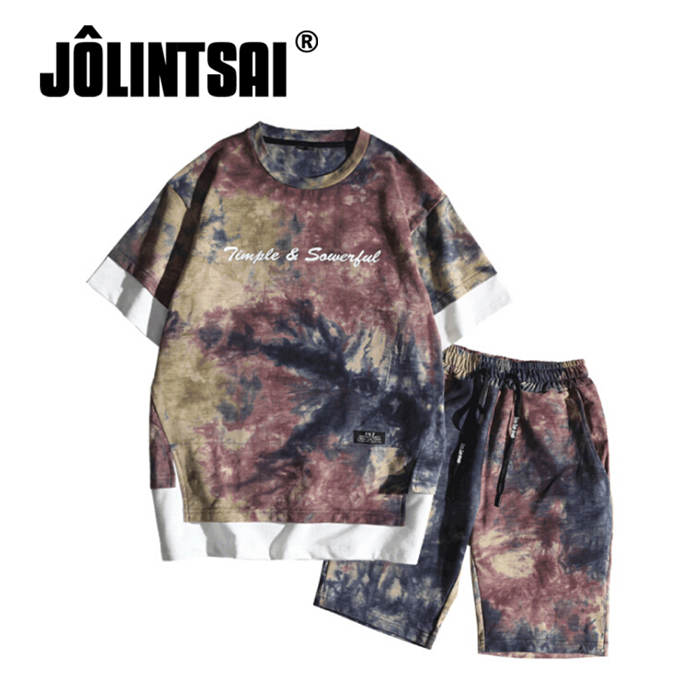 JOLINTSAI Casual Tracksuit Men Summer Harajuku Sets Men Clothing Streetwear Camouflage T-shirt+Shorts Fashion Camisetas Hombre