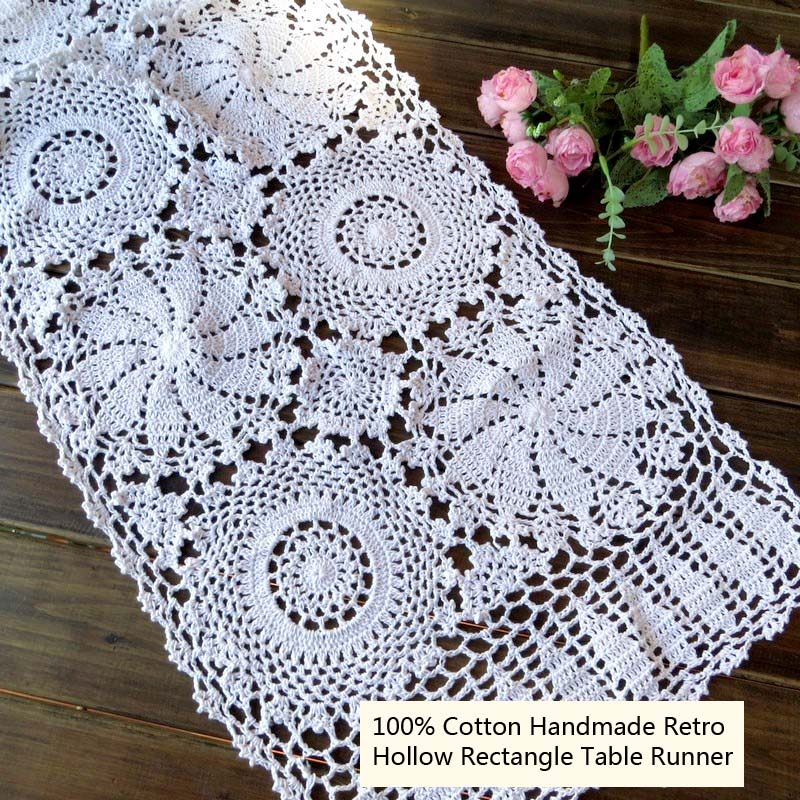 100% Cotton Crochet Lace Rectangular Table Runner for Dining Table Ecru Dresser Scarf Doilies Multi-function Table Cover
