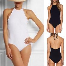 2017 Backless swimwear one piece Swimsuit High Cut Out One Piece Swimsuit biquinis Women Beach wear Black White Color