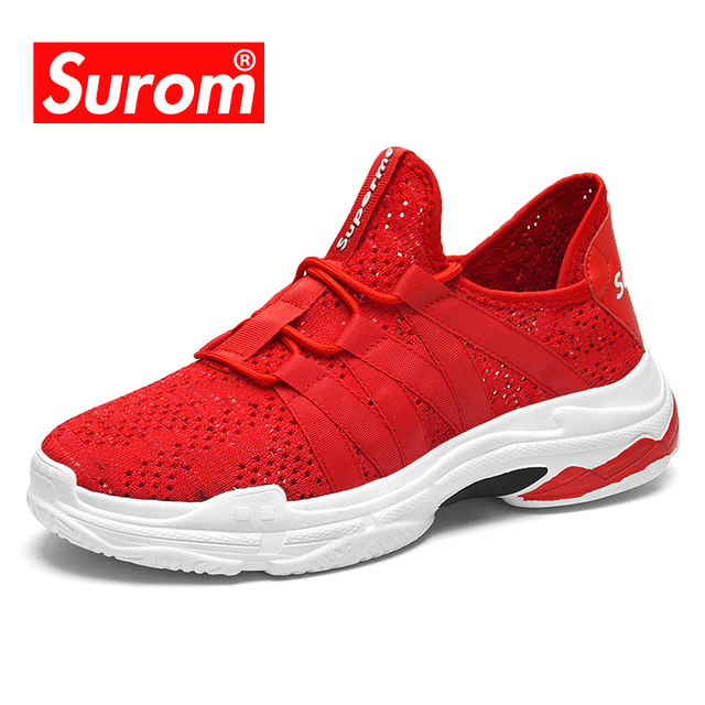 SUROM High Quality Casual Shoes Men Lace up Breathable Mesh Hollow out Net Cool Summer Non slip Men's Sneakers Krasovki