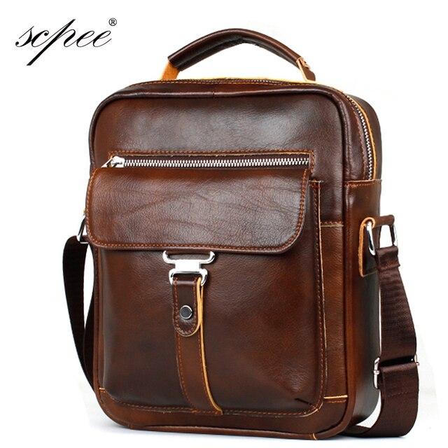 SCPEE Genuine Cow Leather Men s Messenger Bag Gentleman Business Bag Real  Leather Men Crossbody Bag Brand Small fashion handbag 9af6e559ee8aa