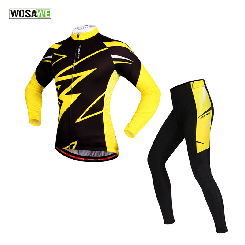 WOSAWE Women Man Cycling Suits Long Sleeve Jacket Tights Trousers Professional Ropa Ciclismo Breathable Windproof Bike Jersey цена 2017