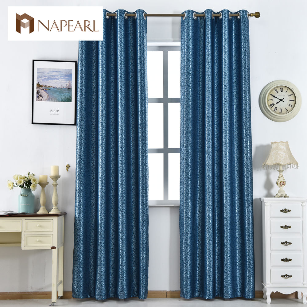 Blue window treatments - Blackout Curtains Modern European Style Jacquard Living Room Curtain Solid Color Drape Window Treatments Ready Made