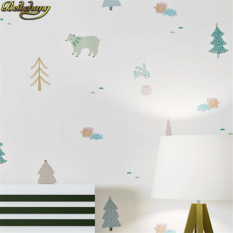 beibehang Nordic cartoon boy girl room Modern Wallpaper For Walls Children's Room Bedroom Living room decoration wall paper roll beibehang european and american street graffiti concrete wall background living room bedroom decoration wallpaper for walls