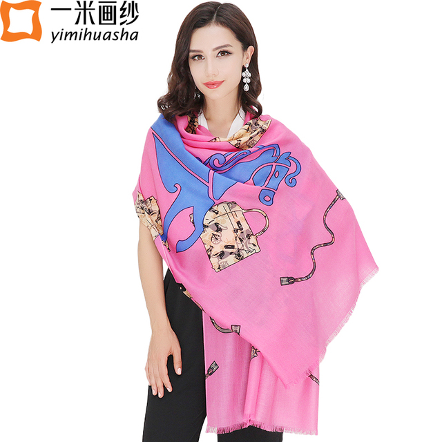 2016 winter new brand designer horse print hight quality wool shawl and pashminas cosy scarf for Women infinity size 210*75cm