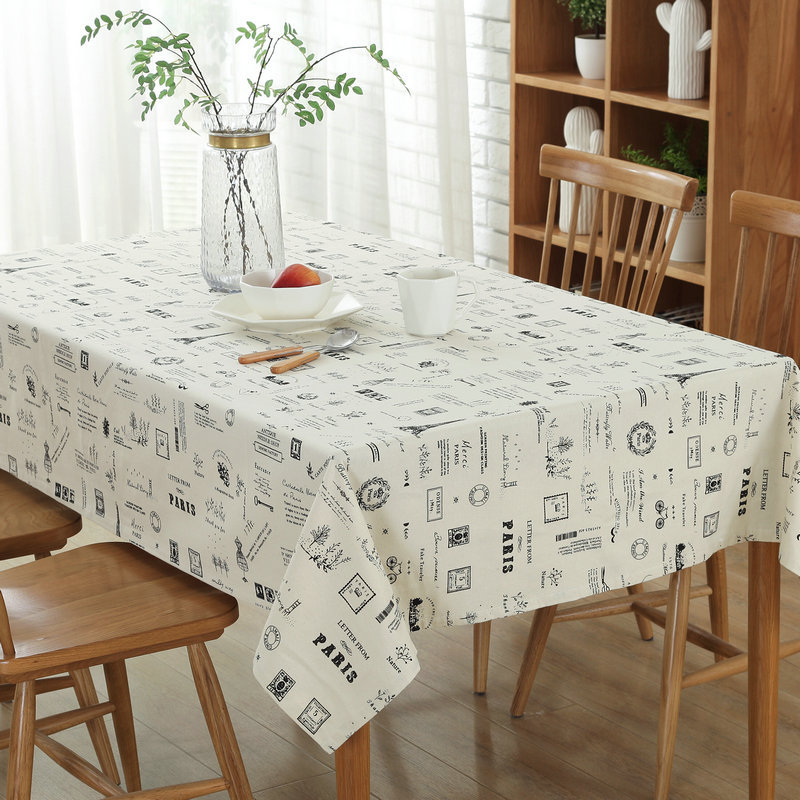 Continental Cotton Fabric Table Cloth Dustproof Tablecloth Rectangular Tablecloths Multi - purpose Cover Towel White