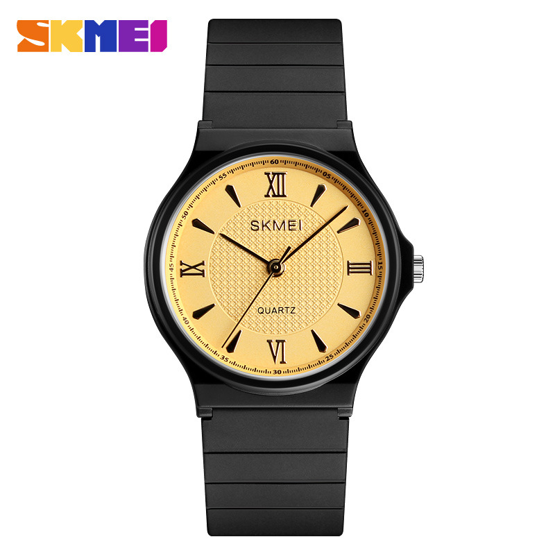 Skmei Fashion Designer Quartz Wrist Watch Yellow Dial Women New Arrival Silicone Ladies Business Style Relogio Feminino 2018 ladies women s fashion style casual watch leather round wristwatch heart love pattern dial with pink white black yellow relogio