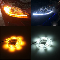 2Pcs Car Flexible Switchback LED Knight Rider Strip Light For Headlight Sequential Flasher Flowing Amber Turn