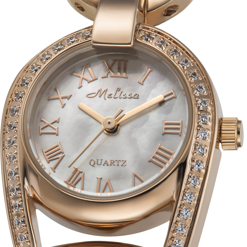 멜리사 뱅글 레이디 여성용 시계 일본 석영 진주 시간 파인 패션 럭셔리 라인 석 시계 소녀의 생일 선물-에서여성용 시계부터 시계 의  그룹 2