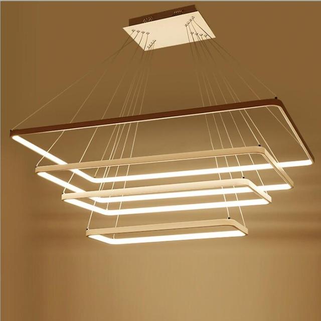 US $165.6 31% di SCONTO|Moderno Led Lampadario Rettangolare HA CONDOTTO  L\'illuminazione Lampadario Per soggiorno Cucina sala Da Pranzo Appendere ...