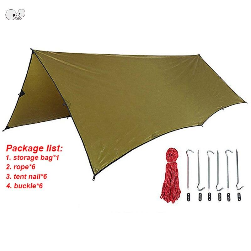 3x4 m imperméable à l'eau UV plage abri de soleil bâche tente ombre ultra-légère auvent de jardin parasol extérieur Camping Barbecue hamac