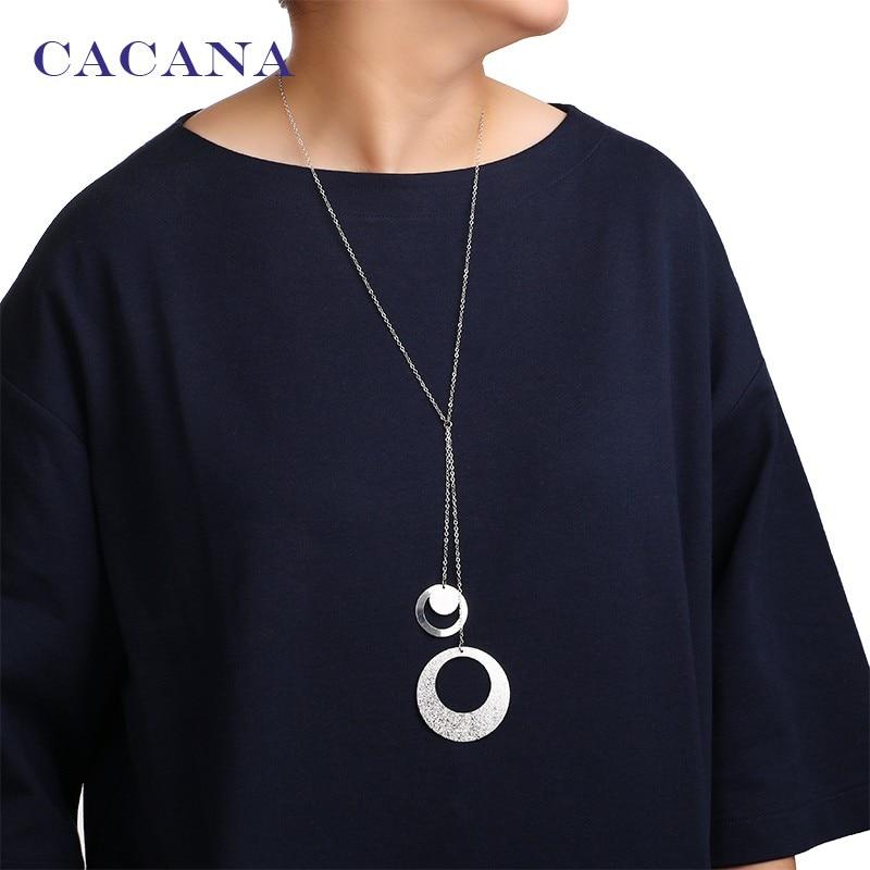 76b24e5009421 Cacana Цепочки и ожерелья модные классический круглый кулон Цепочки и  ожерелья S 2 цвета Для женщин Чокеры Цепочки и ожерелья оптовая продажа б.