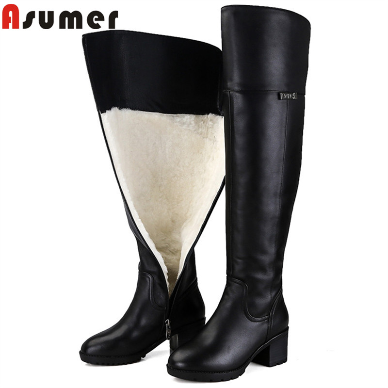 ASUMER fashion winter keep warm shearling snow boots women round toe zip pu+cow leather boots high heels over the knee boots asumer autumn winter high quality keep warm nubuck leather zip over the knee boots elegant platform high heel women boots