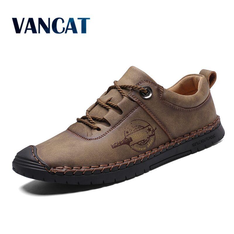 Vancat New Split Leather Men Casual Shoes Fashion Top Quality Driving Moccasins Slip On Loafers Men Flat Shoes Men's Shoes