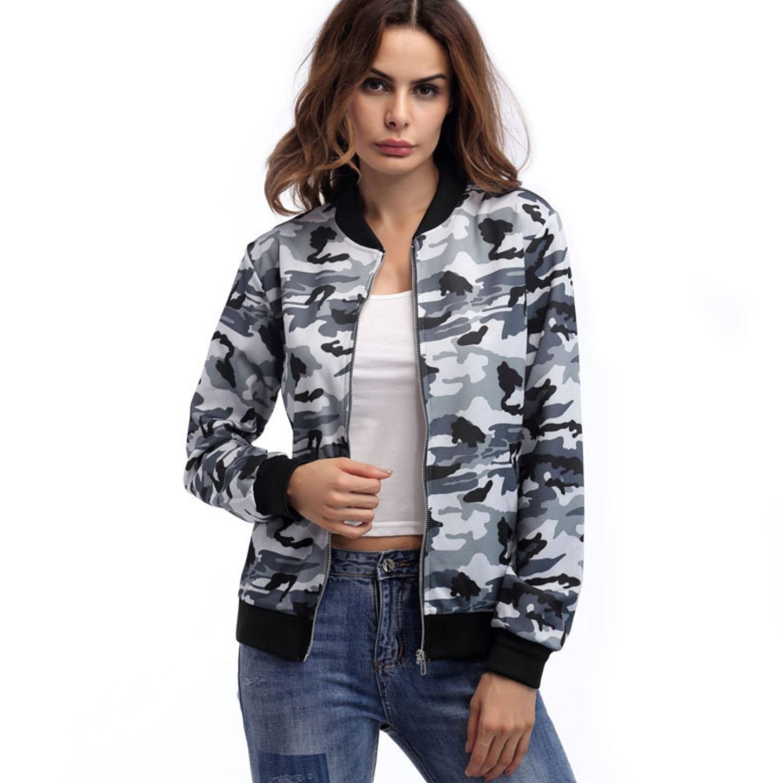 Camouflage Military Bomber   Jacket   Women Long Sleeve Baseball Coats Casual   Basic     Jackets   for Women