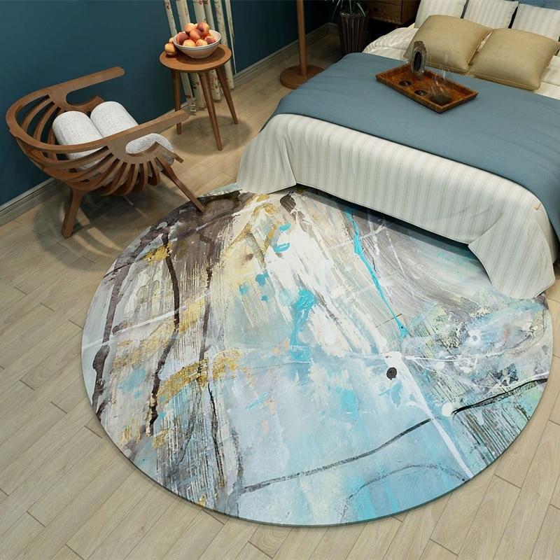 Tapis rond ins nordiques tapis abstrait chambre chevet tapis étude ordinateur bureau coussin pivotant salon table basse tapis - 4