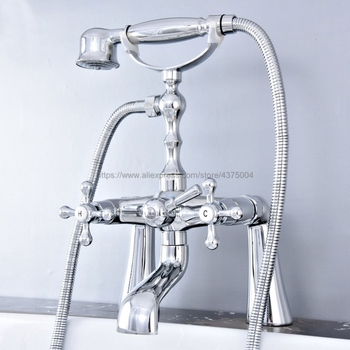цена на Deck Mounted Bathtub Faucet Polished Chrome Tub Sink Faucet Telephone Style Bathroom Bath Shower Set with Handshower Ntf769