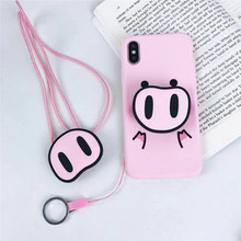 Funny Pink Cute Pigs Phone Case For Iphone XR Xs Max X Cases Full Protective Soft Nose Animal Back Cover for 6s 7 8 Plus