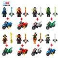 8pcs/lot Ninjagoes Legoes Blocks  Ninja Jay Lloyd  Action Figures Toy  Bricks Model For Kids Gift with motorcycle