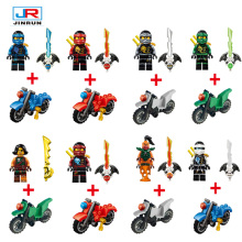 8pcs/lot Ninjagoes  Minifigures Legoes Blocks  Ninja Jay Lloyd  Action Figures Toy  Bricks Model For Kids Gift with motorcycle