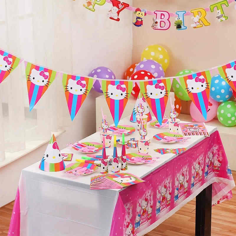 447bd63a4 Detail Feedback Questions about Girls Favor Hello Kitty Theme Paper Cup  Plate Straw Horn Cap Baby Shower Kid Birthday Party Backdrop Banner  Decoration ...