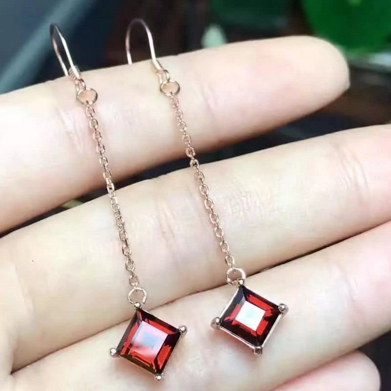 natural red garnet stone drop earrings s925 silver Natural gemstone earring women personality fashion drop Earrings for party natural stone geometry drop earrings page 9