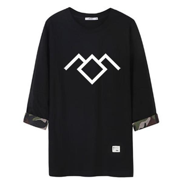 2018 fashion twin peaks camouflage middle sleeve t shirt men hip hop black white streetwear tee shirt man tshirt kpop harajuku