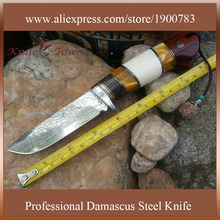 DT039 CS damascus knife yellow sandal handle outdoor hunting knife camping knife military survival knife
