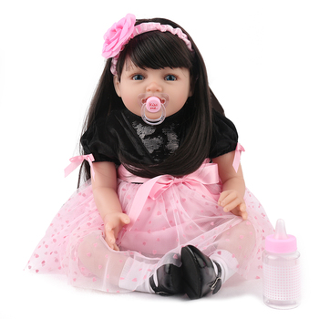 22inch Soft  Reborn Silicone Dolls lol reborn-baby collectible Dolls smile modeling princess toddler Kids Playmate brinquedos