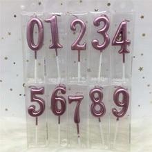 1 шт Серебряные розовые золотые свечи для дня рождения украшения 0-9 Количество свечи для торта кекса Топпер вечерние принадлежности
