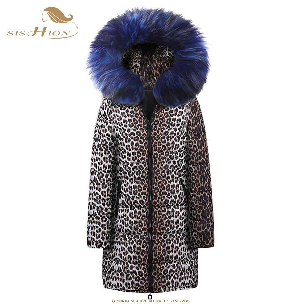 SISHION 2019 Autumn Winter New Thin Leopard   Parkas   QY0220 Women Hooded Casual Plus Size Long Coat Warm For Women   Parkas