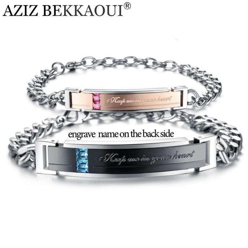 AZIZ BEKKAOUI pulseras de acero inoxidable joyería del amante